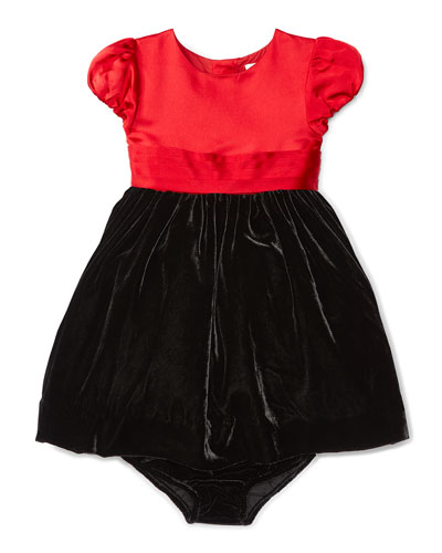 Cap-Sleeve Satin & Velour Party Dress w/ Bloomers, Red, Size 9-24 Months