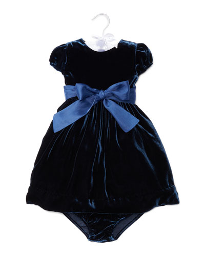 Velvet Party Dress w/ Bloomers, Navy, Size 9-24 Months