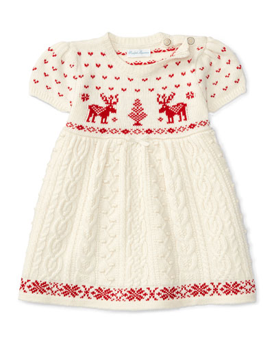 Short-Sleeve Mixed-Knit Dress, Cream, Size 3-24 Months
