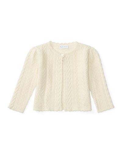 Mixed-Knit Wool & Cashmere Bolero, Cream, Size 9-24 Months