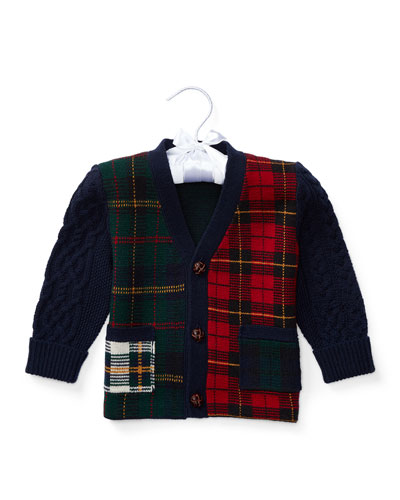 Plaid Wool-Blend Sweater, Multicolor, Size 9-24 Months