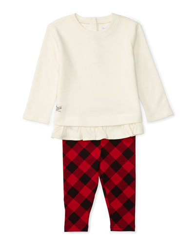 Atlantic Fleece Pullover Sweater w/ Check Leggings, Cream, Size 9-24 Months