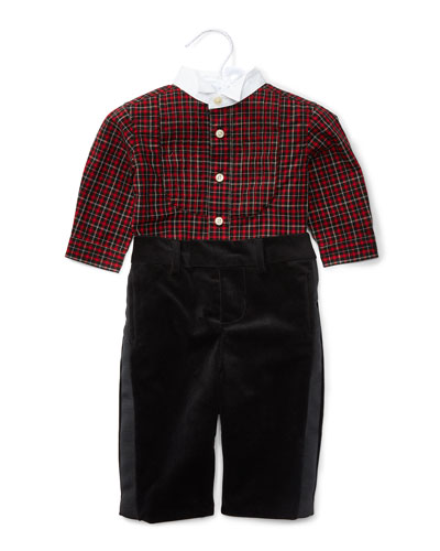 Plaid Tuxedo Shirt w/ Velour Pants, Red/Black, Size 9-24 Months