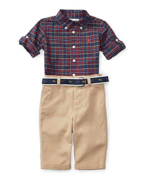 Ralph Lauren Plaid Poplin Shirt W Khaki Pants Navy Red