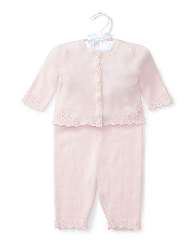 Cashmere Two-Piece Pajama Set, Pink, Size 3-12 Months