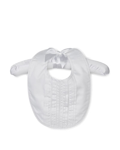 Cotton Pintucked Baby Bib, White