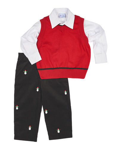 V-Neck Vest, Poplin Shirt & Corduroy Pants, Black/Red, Size 12-24 Months