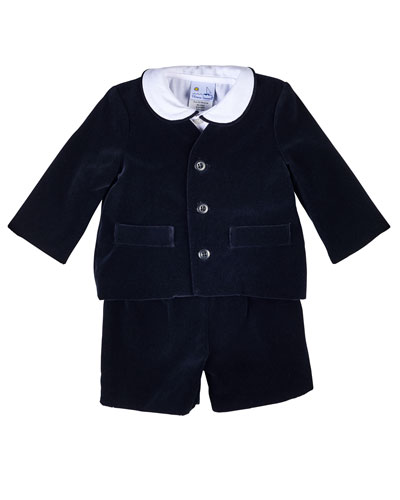Velour Eton Suit w/ Shirt, Black, Size 12-24 Months