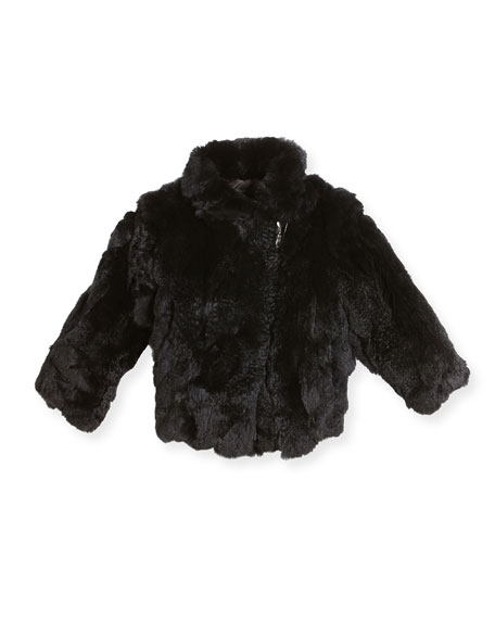 Rabbit Fur Moto Jacket, Black, Size 2-12