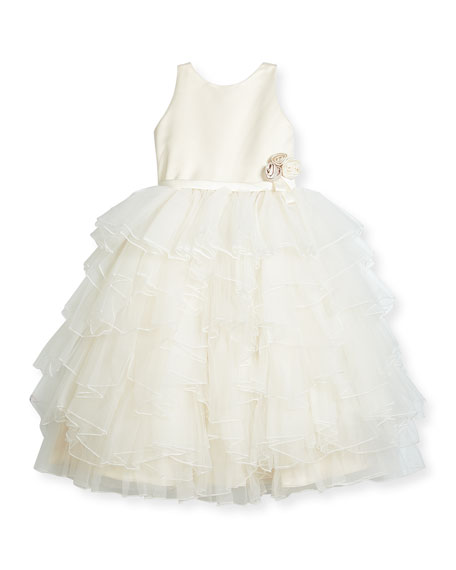 Joan Calabrese Satin & Tiered Tulle Special Occasion
