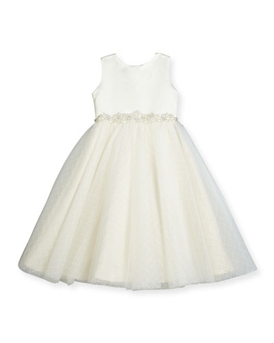 Satin & Textured Tulle Special Occasion Dress, White, Size 7-14