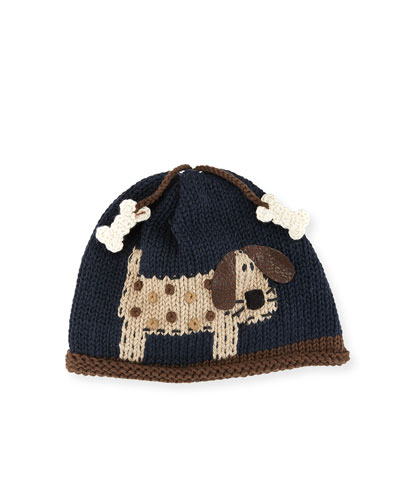Woof Woof Knit Baby Hat  Blue