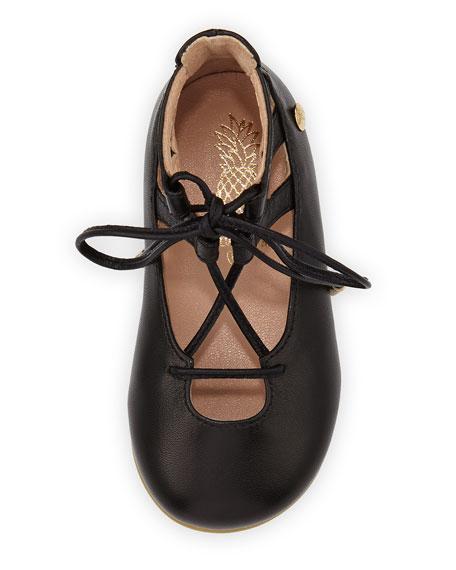 Belgravia Baby Leather Ballerina Flat, Black, Infant/Toddler Sizes 6M-10T