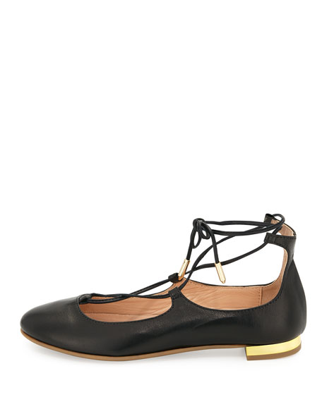 Christy Mini Leather Lace-Up Flat, Black, Toddler/Youth