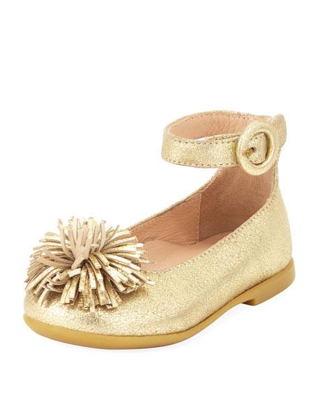 Aquazzura Sunshine Metallic Ballerina Flat, Gold, Toddler/Youth
