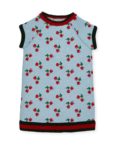 Gucci Heart Cherries Raglan Jersey Dress, Size 3-36