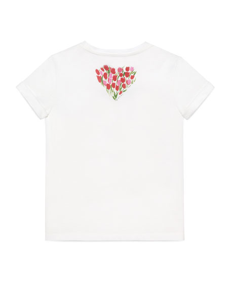 Short-Sleeve Flowered Snake Jersey Tee, White, Size 4-12