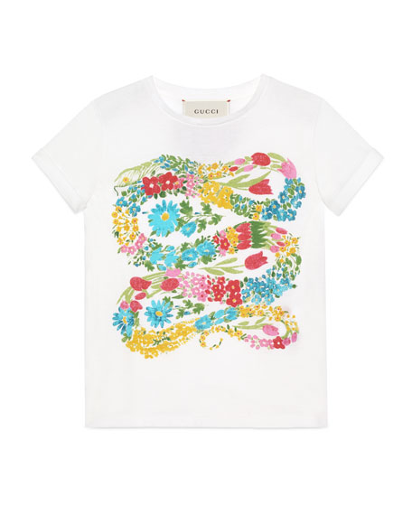 Gucci Short-Sleeve Flowered Snake Jersey Tee, White, Size