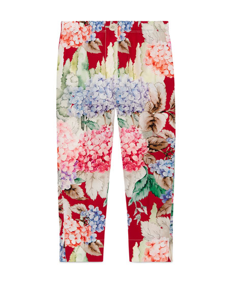 Gucci Silk Crepe de Chine Hydrangea Pants, Pink/Red,