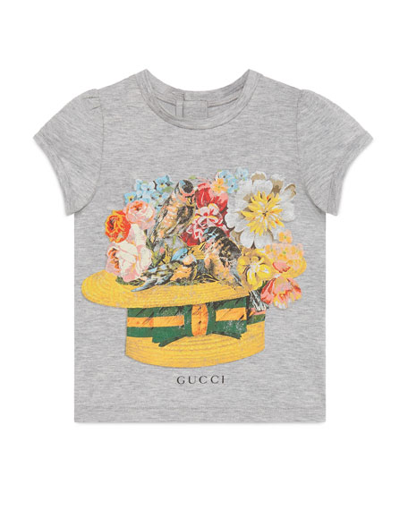 Gucci Cap-Sleeve Hat & Flower Jersey Tee, Light