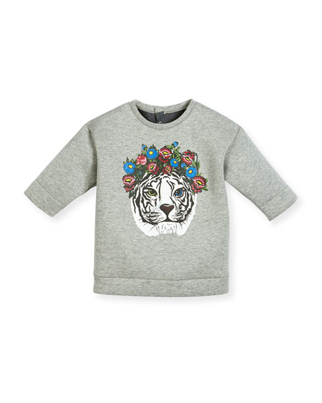 Gucci Heathered Neoprene Tiger Sweatshirt, Light Gray, Size