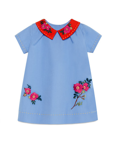 Gucci Short-Sleeve Embroidered Poplin Shift Dress, Multicolor,
