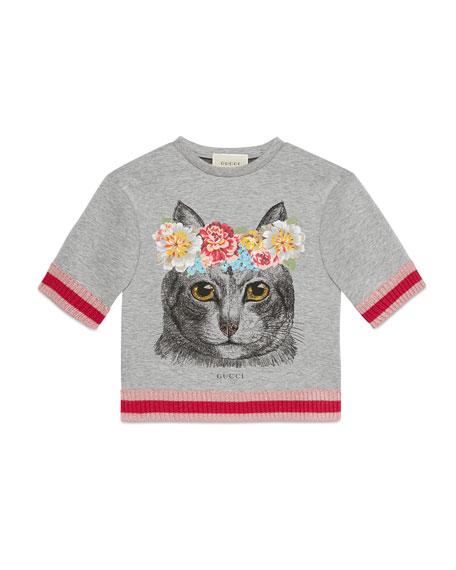 Gucci Short-Sleeve Melange Neoprene Cat Sweatshirt, Gray, Size