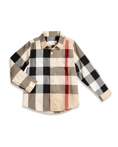Mini Camber Check Shirt, Tan, Size 4-14