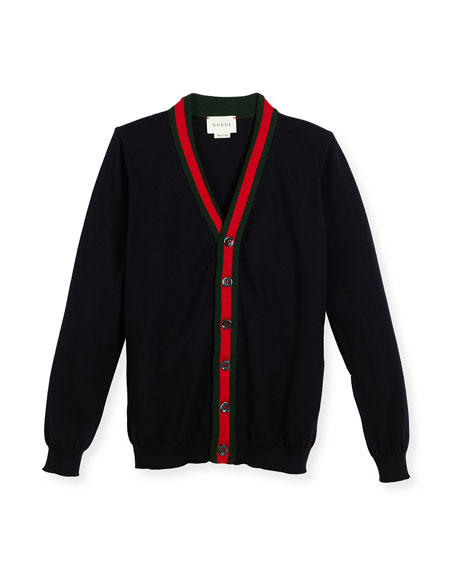 Gucci Cotton V-Neck Button-Front Sweater, Navy, Size 4-12