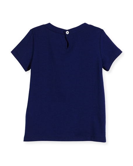 Short-Sleeve Cotton Jersey Tee w/ Bow, Blue, Size 4-12