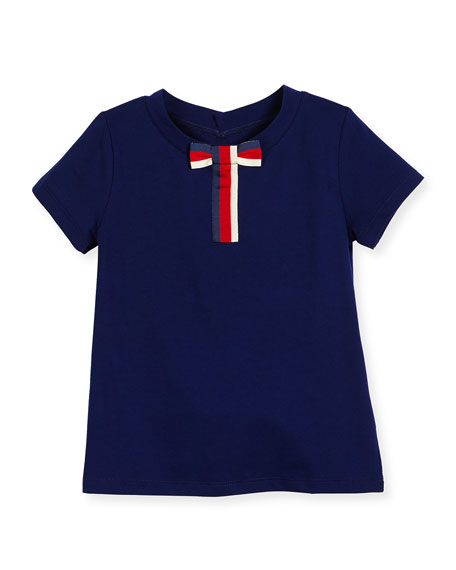 Gucci Short-Sleeve Cotton Jersey Tee w/ Bow, Blue,
