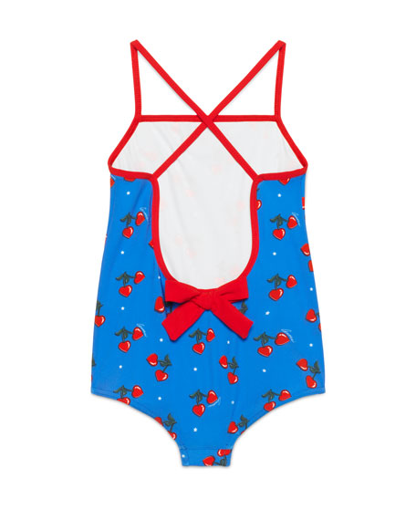 Cross-Back Heart Cherries One-Piece Swimsuit, Blue, Size 4-12