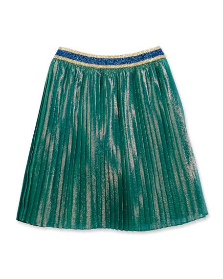 Gucci Iridescent Silk-Blend Plissé Skirt, Multicolor, Size