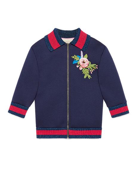 Neoprene Zip-Front Sweatshirt, Blue, Size 6-12