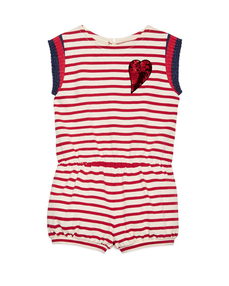 Gucci Sleeveless Striped Jersey Romper, White/Red, Size 4-12