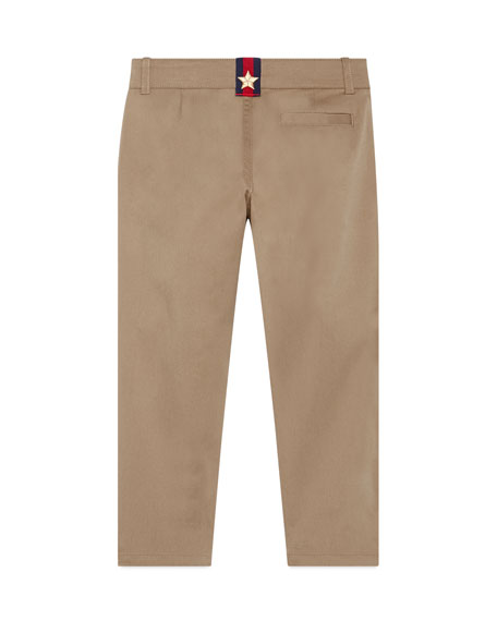 Stretch Gabardine Straight-Leg Pants, Khaki, Size 4-12