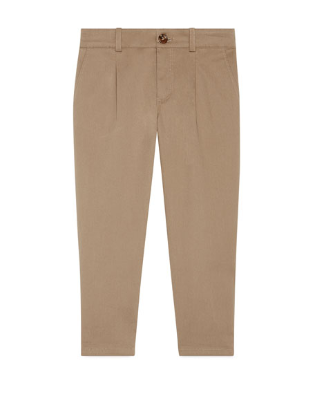 Gucci Stretch Gabardine Straight-Leg Pants, Khaki, Size 4-12