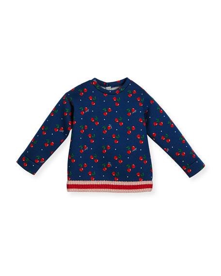 Gucci Heart Cherries Neoprene Sweatshirt, Navy, Size 18-36
