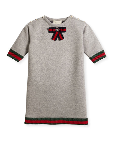 Gucci Short-Sleeve Cotton Jersey Dress, Gray, Size 4-12