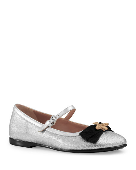 Gucci Metallic Leather Mary Jane Flat, Silver, Toddler