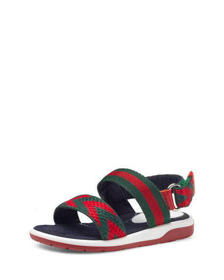 Gucci Chevron Leather Sandal, Green/Red, Toddler