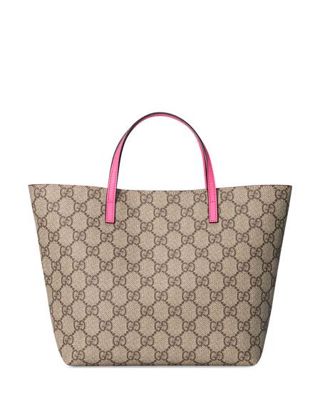 Girls' GG Supreme Canvas Tote Bag, Beige