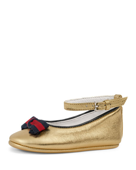 Gucci Metallic Leather Ballet Flat, Gold, Infant