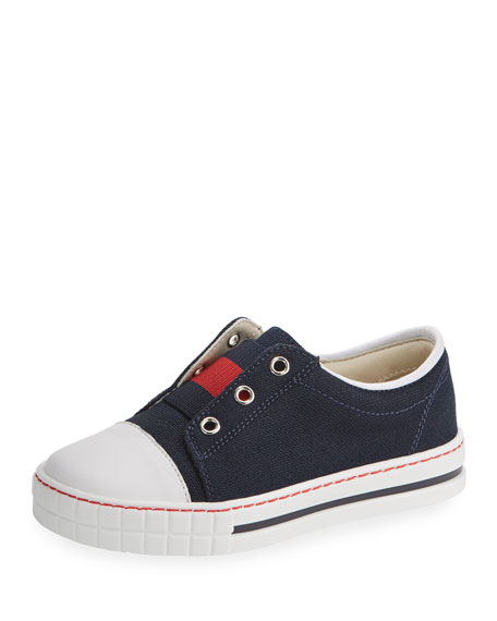 Gucci Canvas Low-Top Slip-On Sneaker, Blue/Red, Toddler