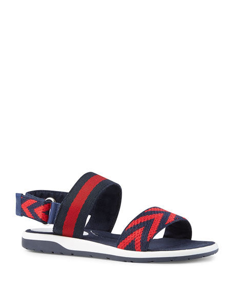 Gucci Chevron Leather Sandal, Blue/Red, Youth