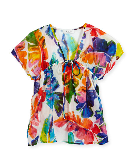 Milly Minis Banana Leaf Swim Coverup, Multicolor, Size
