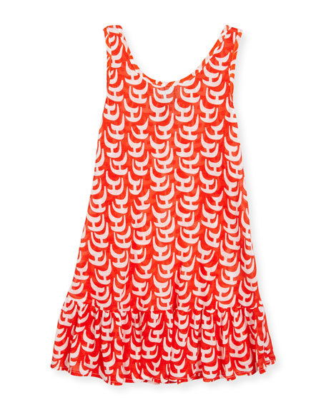 Milly Minis Sailboat Ruffle Coverup Dress, Red/White, Size
