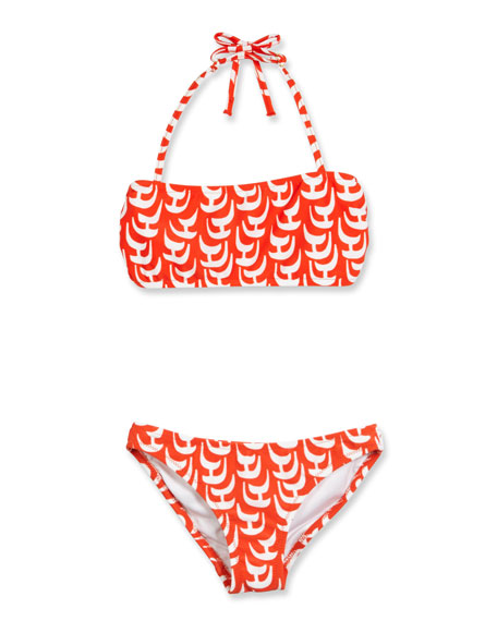 Milly Minis Sailboat Bandeau Halter Bikini, Red/White, Size