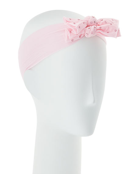 Girls' Two-Bow Stretch Rhinestone Headband, Light Pink