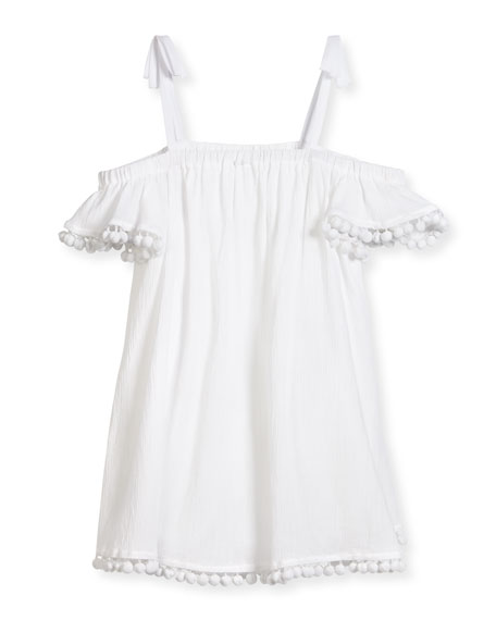 Milly Minis Eden Pompom Swim Coverup, White, Size